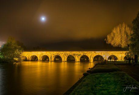 Bridge lit up in gold